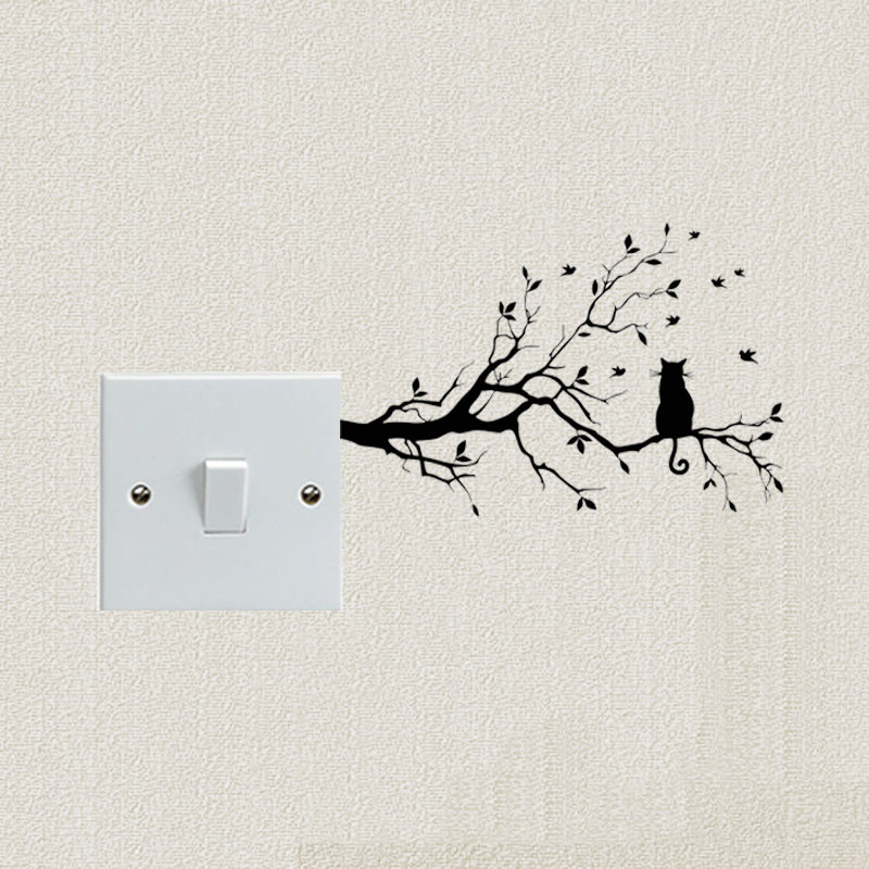 Cat On Long Tree Branch Vinyl Wall Sticker Animals  Art Light Switch Sticker Kids Room Decor 2SS0903
