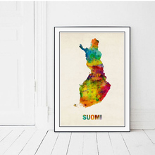 Modern Map of Finland Canvas Art Print Poster, Wall Picture for Living Room Decoration, SUOMI Hogar Decor Painting