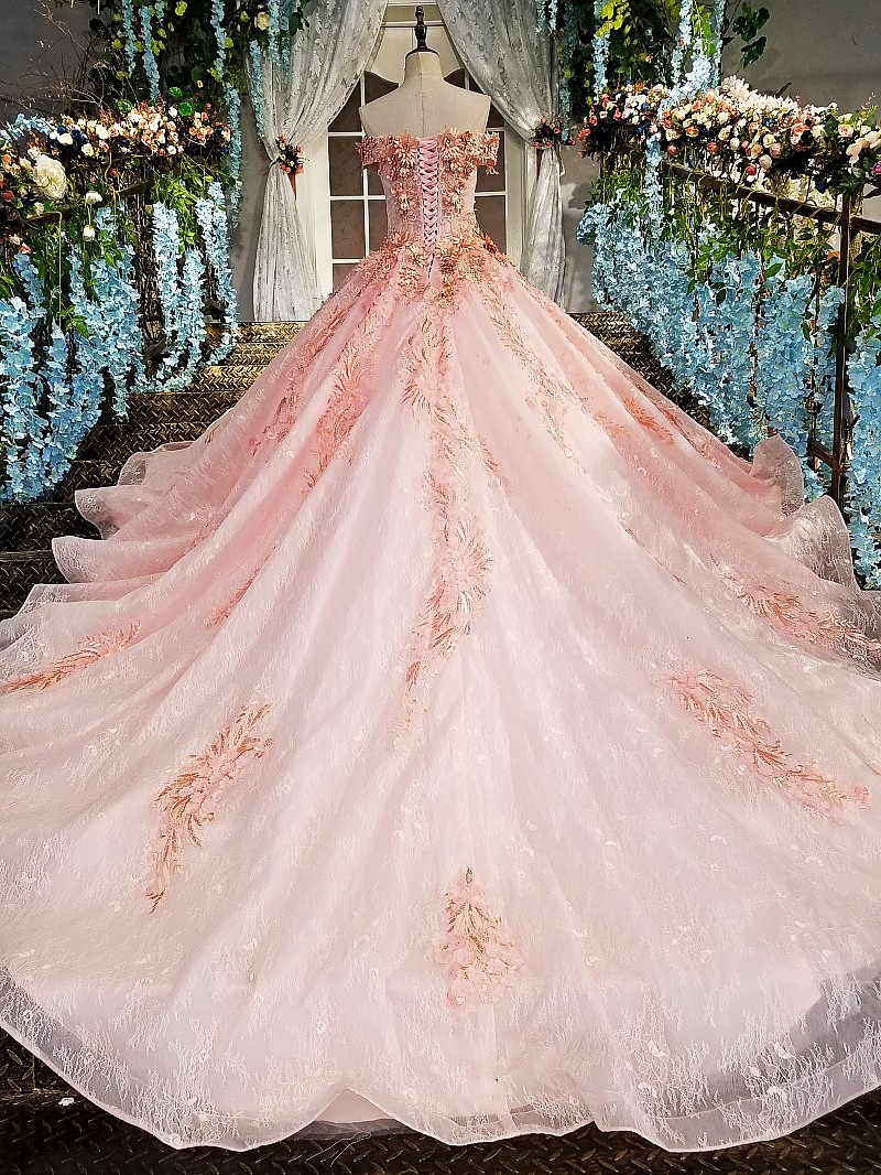 2017 Real Photos Pink Ball Gown Wedding Dress Long Train Luxury Lace ...