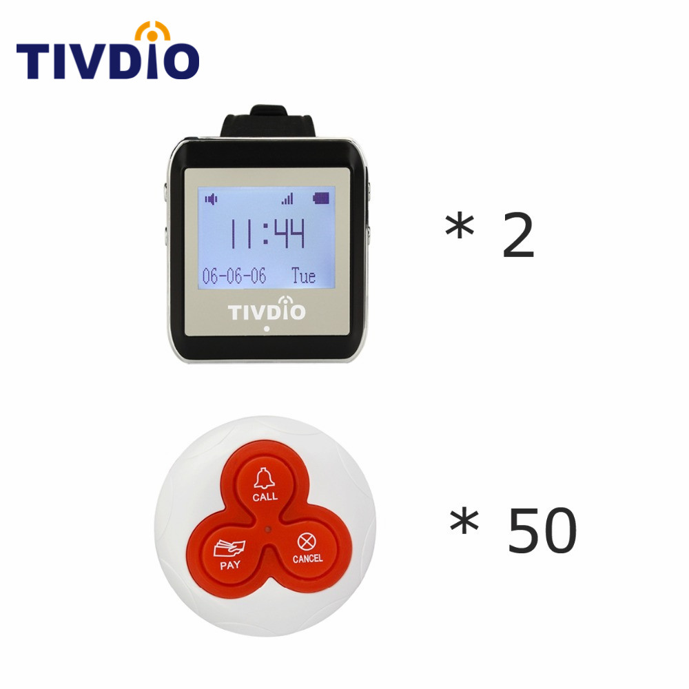 TIVDIO Wireless Watch Restaurant Coaster Pager Calling System 50 Callers for Hospital Waiter Nurse 433MHz Equipments F9404A