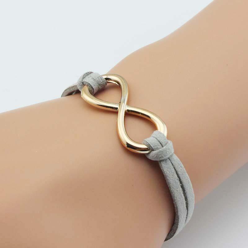 2016 New Silver Plated Infinity Pendants Hand Braided Velvet Charms Bracelets Fashion Jewelry For Men Women Friend Ship SL083