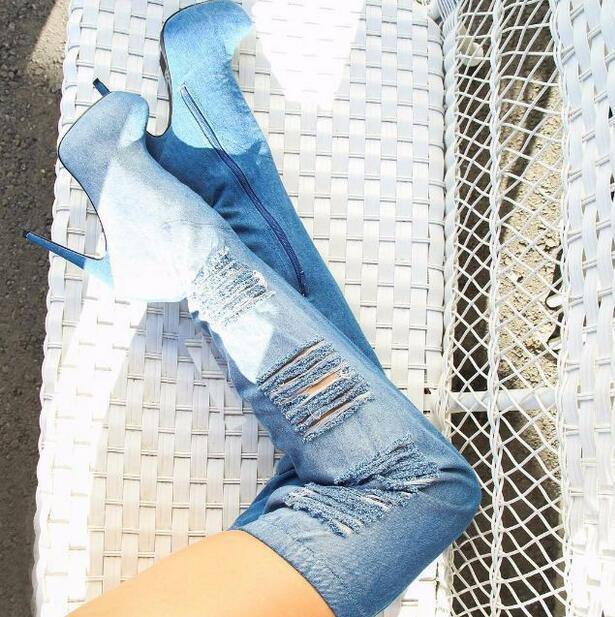 2018 Newest Denim Blue Over The Knee Boots Round Toe Side Zipper Tight High Boots Hole Jeans Winter Long Boot High Platform Shoe 500pcs 1210 1 2k 1k2 1 2k ohm 5
