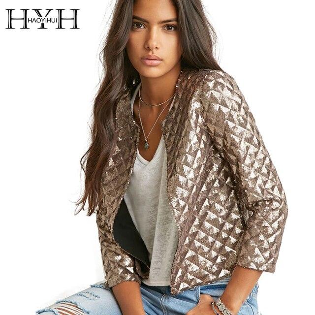 HYH HAOYIHUI 2016 Новый Весна Стиль Vogue Ромб Женщины Золотые Блестки Куртки Три четверти рукав Моды Пальто Outwears