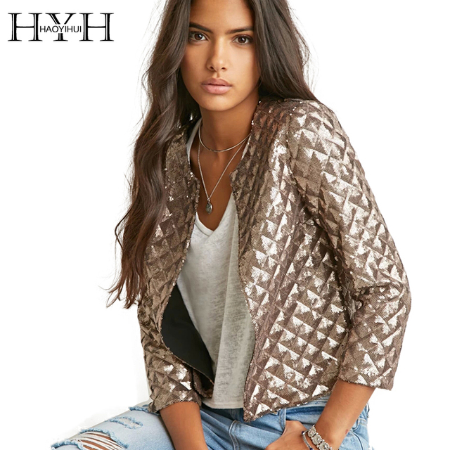 2017 Brand New Spring Style Vogue Women Gold Jacket