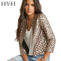 HYH HAOYIHUI 2017 Brand New Spring Style Vogue Lozenge Women Gold Sequins Jackets Three quater sleeve Fashion Coats Outwears