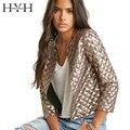 Hyh haoyihui 2017 marca new style primavera vogue losango mulheres jaquetas de lantejoulas de ouro três quater luva moda casacos outwears