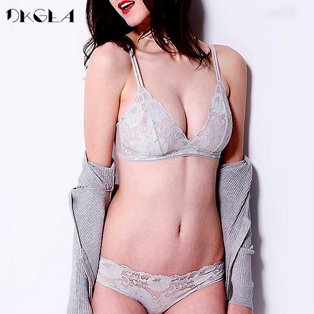 a22d17f6db7 2018 Young Girl Ultrathin Black Bra Plus Size 38 36 Sexy Underwear Women  Sets Gray Lace Transparent Bras Set Hollow Out Brassier