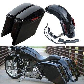 "Motorcycle 5"" Extended Saddlebags CVO Rear Fender System For Harley Touring Road King Street Electra Gilde FLHT FLHTCU 2014-2019"