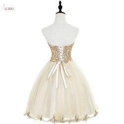 Тюлевые короткие платья для выпускного вечера 2019 A line шампанского выпускное платье вырез сердечком бисер vestidos de graduacion