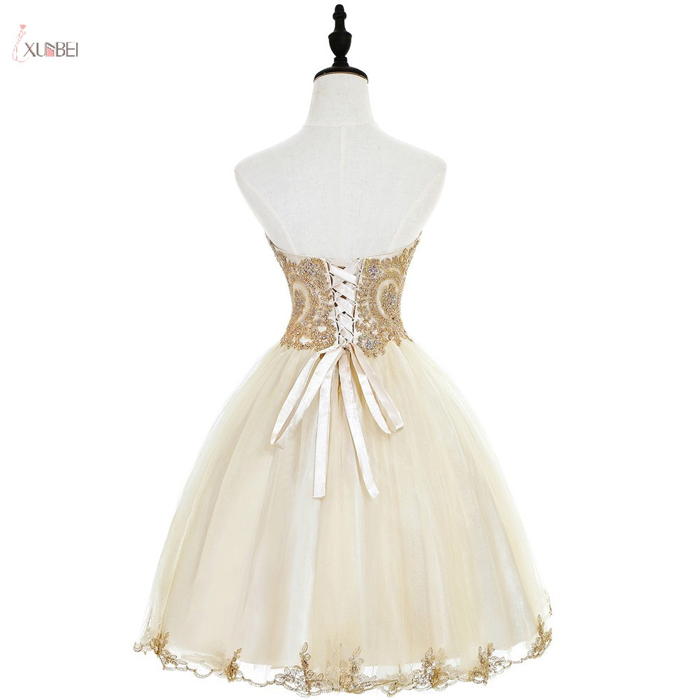 Tulle Short Homecoming Dresses 2019 A Line Champagne Graduation Gown Sweetheart Neck Beaded Vestidos De Graduacion