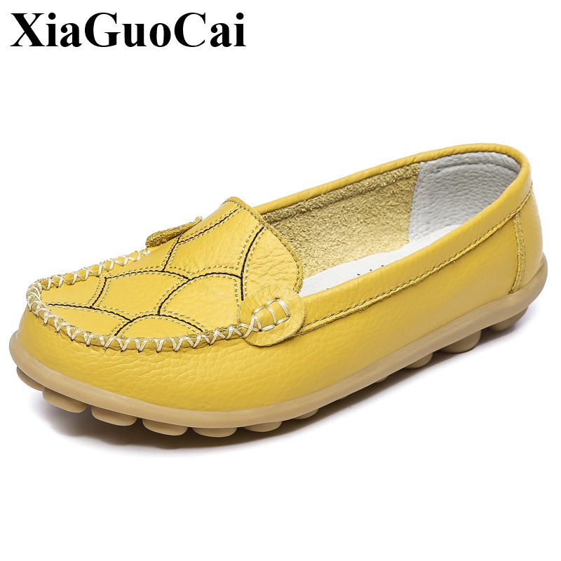 Genuine Leather Shoes Women Shallow Slip-on Flats Shoes Comfortable Soft Non-slip Rubber Soles  Loafers Footwear Female H20535 new style comfortable casual shoes men genuine leather shoes non slip flats handmade oxfords soft loafers luxury brand moccasins