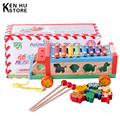 Children's educational wooden kids toys wooden animal cognition shape steel hand knock piano octave baby toys trailers