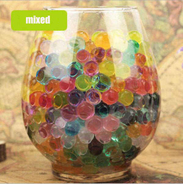 100pcs/Lot Pearl Shaped Crystal Soil Water Beads Mud Grow Magic Jelly Balls Home Decor Aqua Soil Wholesales mix color