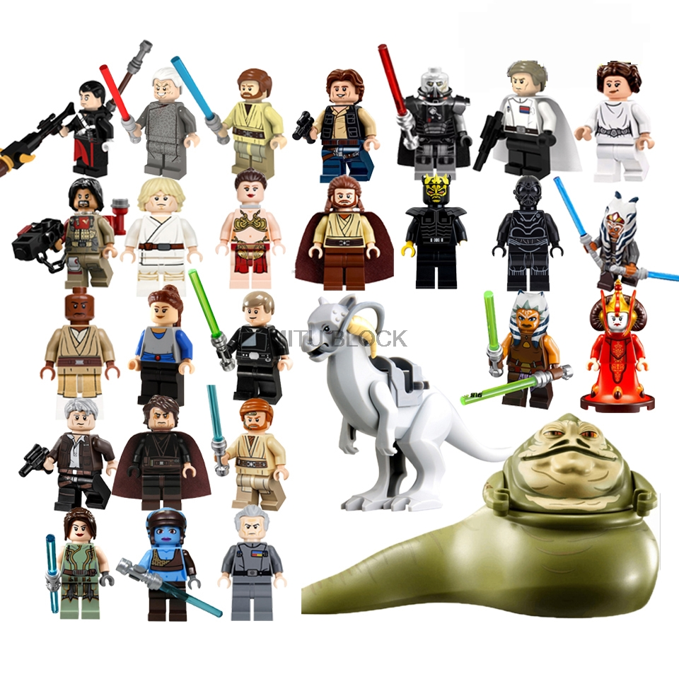 Star Wars Figures Leia Luke Jabba Queen Padme Amidala C3Po Starwars Yoda Han Solo Building Blocks Brick Toy