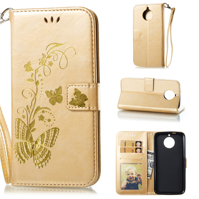 detailed look 69418 3edd3 US $3.92 28% OFF Flip Cover For Motorola Moto G6 Case Gold stamp Golden  butterfly PU Leather Photo Frame Wallet Stand Mobile Phone Cases-in Wallet  ...