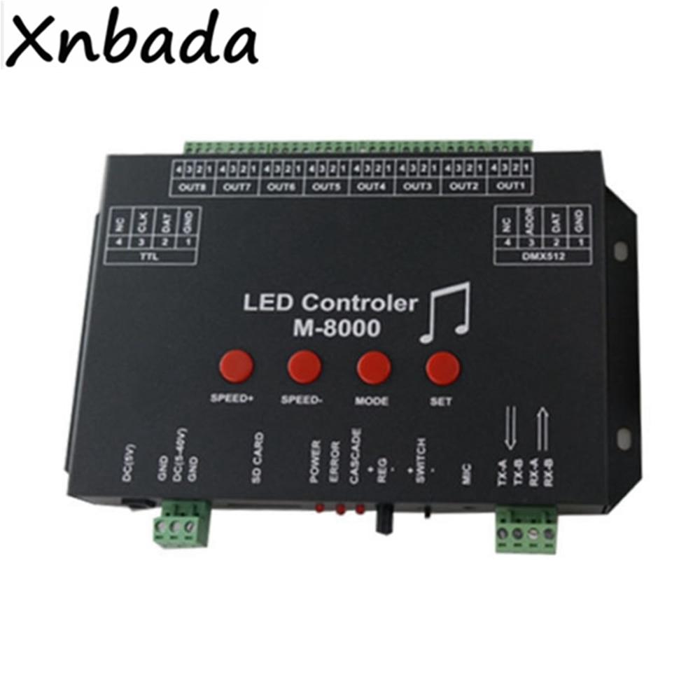 M 8000 Programable 8096Piexl Led controlador de música para WS2812B WS2812 SK6812 Led cinta de tira de luz entrada DC5V