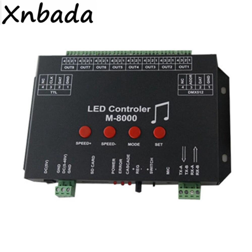 M-8000 Programmable 8096 Pixel A Mené Le Contrôleur De Musique Pour WS2812B WS2812 SK6812 A Mené La Lumière De Bande Bande DC5V D'entrée