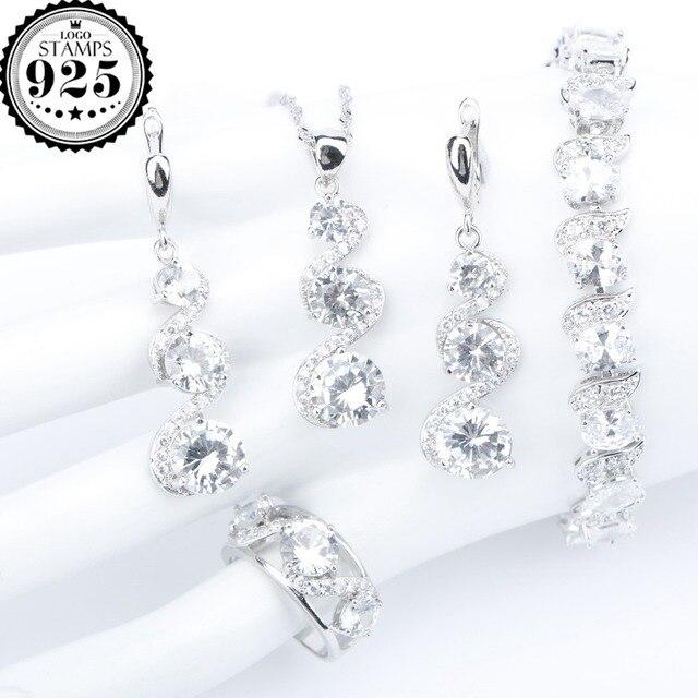 Bridal Silver 925 Bridal White Zircon Jewelry Sets Women Bracelets Earrings Ring