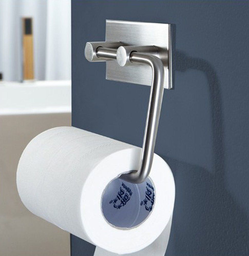 Brushed Toilet Paper Holder-3M Self Adhesive Tissue for Roll Stainless Steel304
