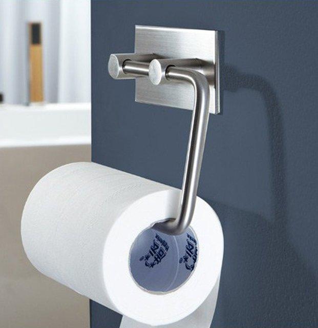 304 Stainless Steel Toilet Paper Holder Storage Bathroom Kitchen Paper  Towel Dispenser Stick On Sticky Tissue