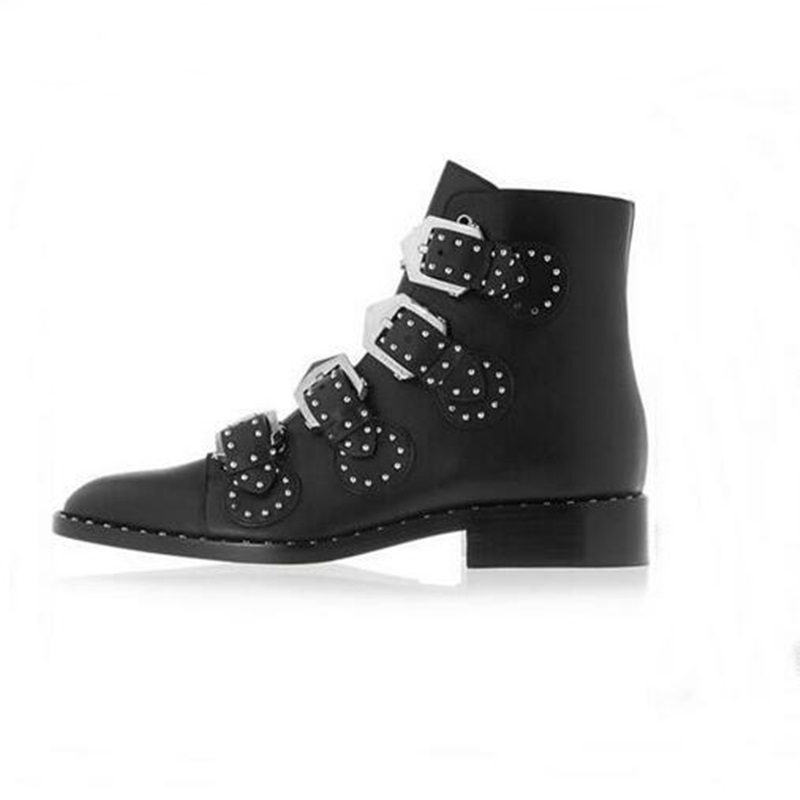 d66b1b7f05db Punk Style Buckle Strap Flat Ankle Boots Round Toe Studded Rivets Chunky  Heels Ridding Boots Women Sexy Motorcycle Boots