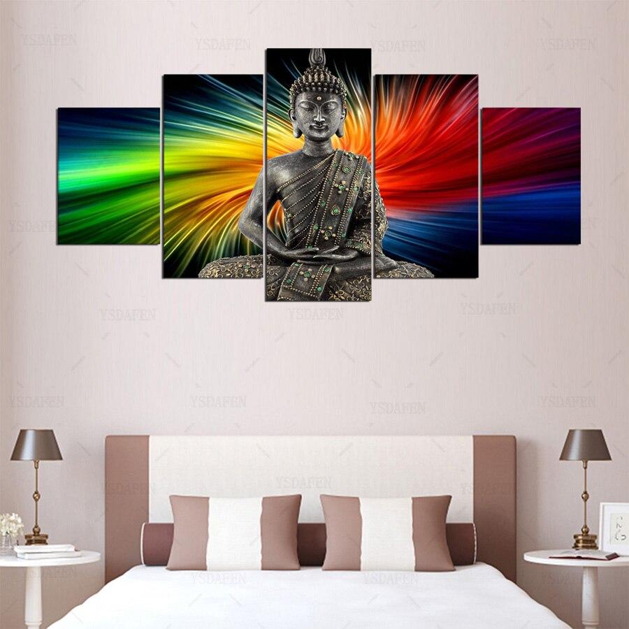 5Panel HD Printed Painting Buddha painting Ccanvas Painting Room ...