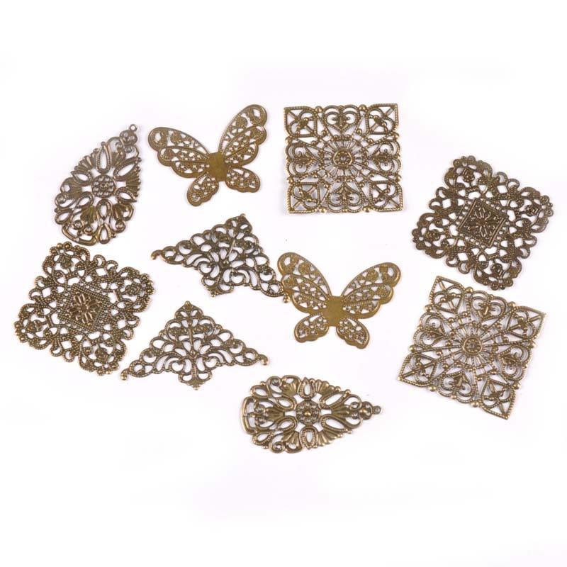 10 x Bronze Tone Square Filigree Stamped Embellishment 40mm Craft Scrapbooking