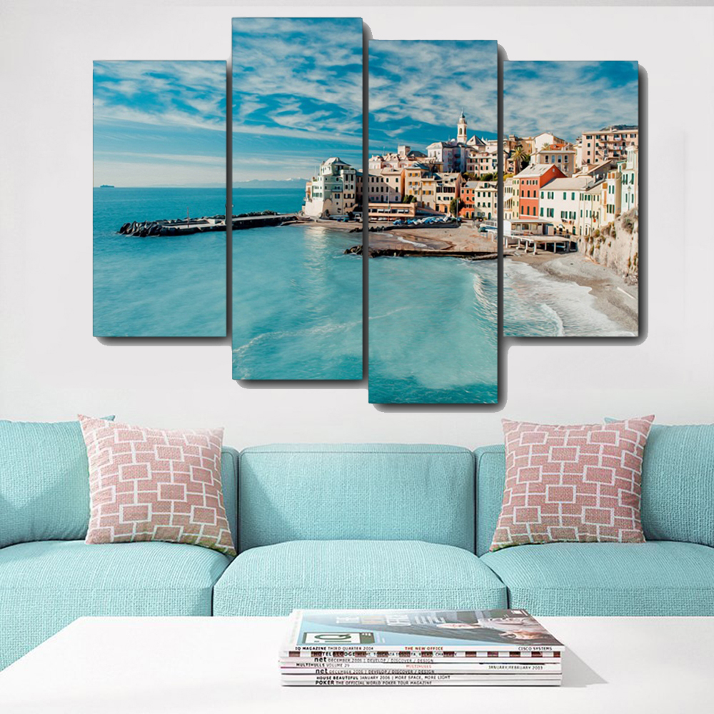 Seascape City Scenery Canvas Painting Calligraphy Prints Home Decoration Wall Art Poster Pictures For Living Room Bedroom