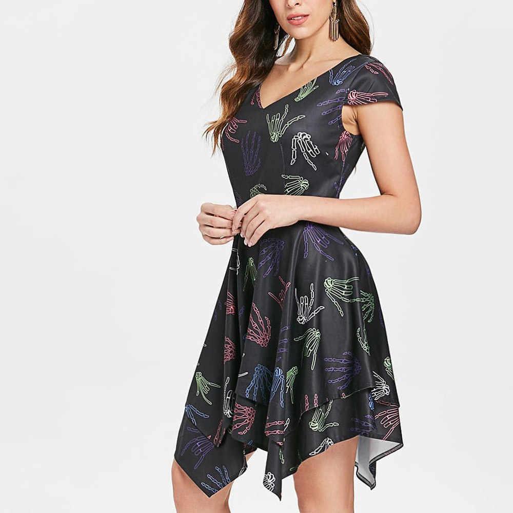 Летние модные женские туфли Хэллоуин платье Сексуальная скелет руки носовой платок платье с принтом Вечеринка плюс размеры vestidos