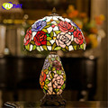 European Graden Tiffany Table Lamp Living Room Bedside Warm Stand Lamp Stained Glass Rose Shade Table Lamp