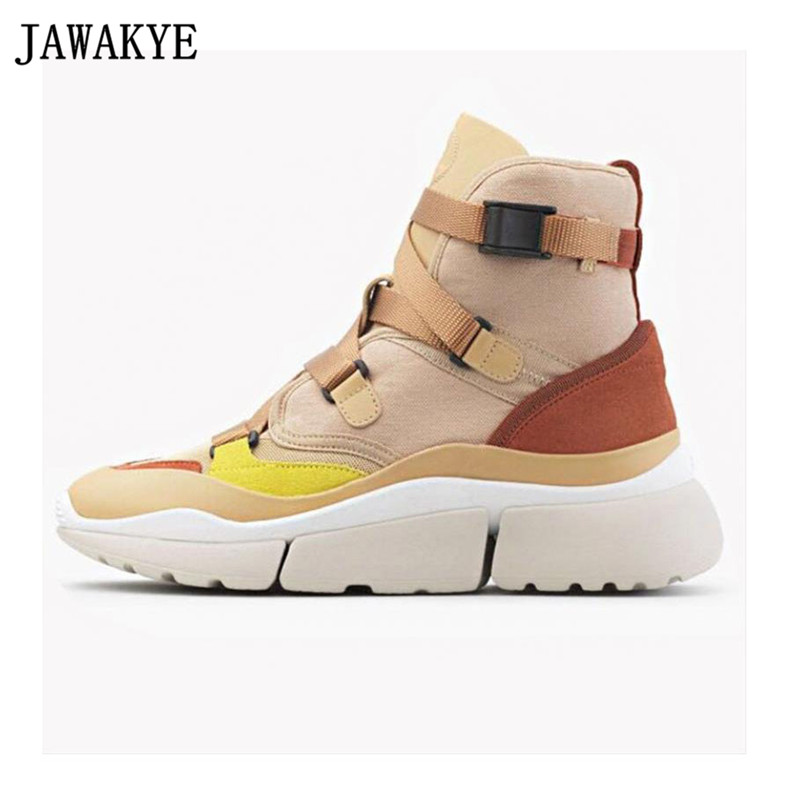 Autumn winter casual shoes Woman canvas Trainers creeper patchwork boots thick bottom platform sneakers low top