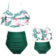 flouncing mother daughter bikini swimsuit mommy and me swimwear clothes family look matching outfits mom baby dresses clothing(China)
