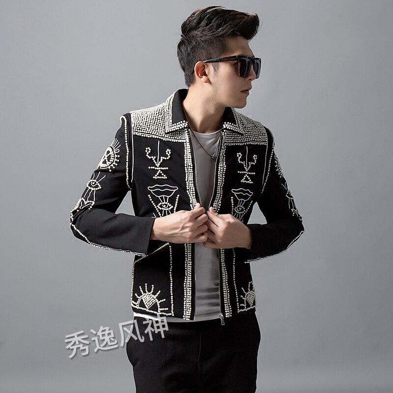 Et Discothèque Punk D'hiver Coréenne Zipper Chanteurs Coat perlé De Costumes Rivet Personnalité Hommes Style Veste Automne Main Broderie fdOqwCf