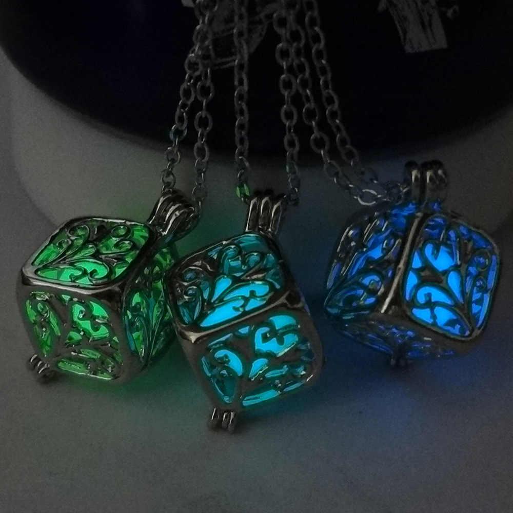 Glow in the Dark สร้อยคอรูปแบบ Tree Luminous หินจี้สร้อยคอ Maxi สำหรับ Unisex เงินชุบเครื่องประดับ