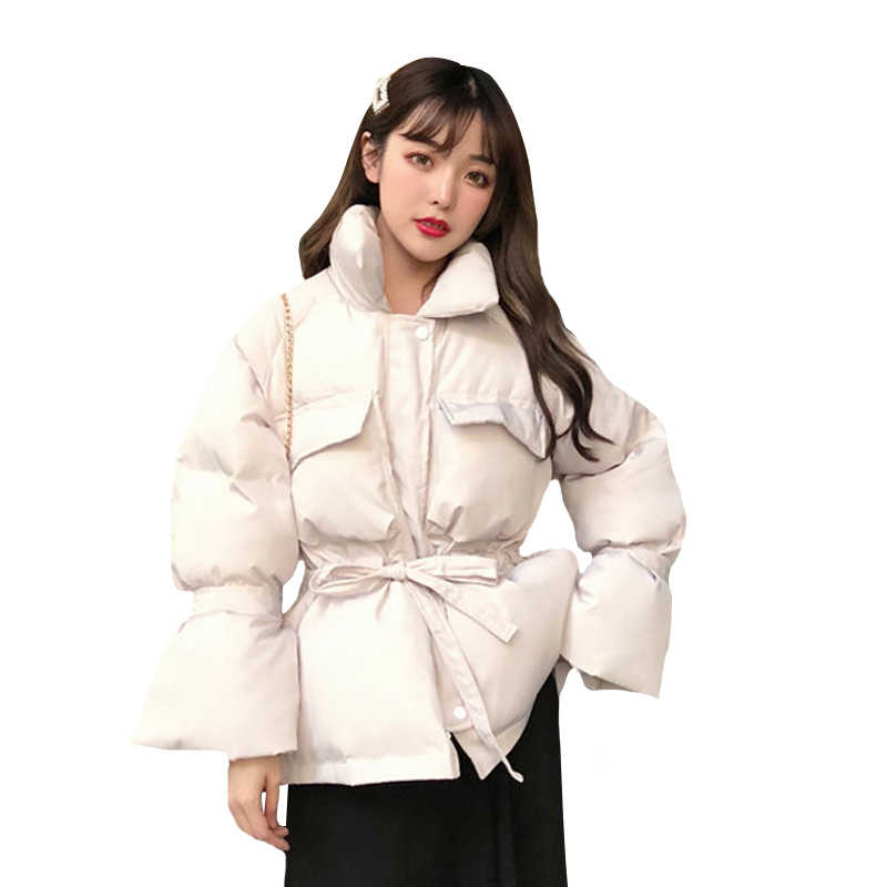 b0bab6f7c Winter Women's Down Cotton Padded Jacket Women Wadded Jackets Warm bandage  white Coat Parka Bread Style Loose Outwear Coats