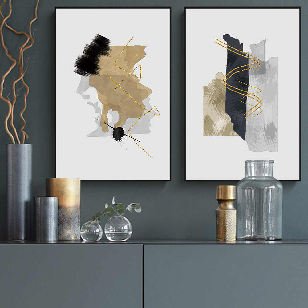 Black and grey Golden Abstract Painting Oil Painting Canvas Print Pictures Posters Decorative Wall Pictures For Living Room
