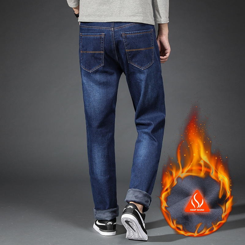 Image 3 - Warm Fleece Jeans Mens winter High Quality Famous Brand velvet Jean trousers flocking warm soft men pants 40 42 44 Large size-in Jeans from Men's Clothing