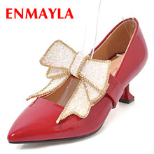 Лучший!  ENMAYLA Sweet Crystal Туфли на высоком каблуке Женщина Высокие каблуки Острым носом Галстуки-бабочки