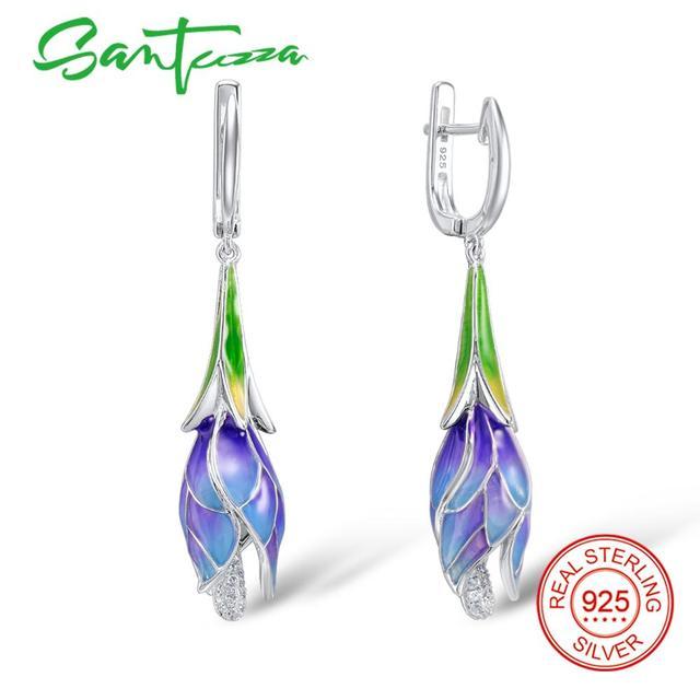 478c4376e SANTUZZA Silver Earrings For Women 925 Sterling Silver Dangle Earrings Long  Silver 925 Cubic Zirconia brincos Jewelry Enamel