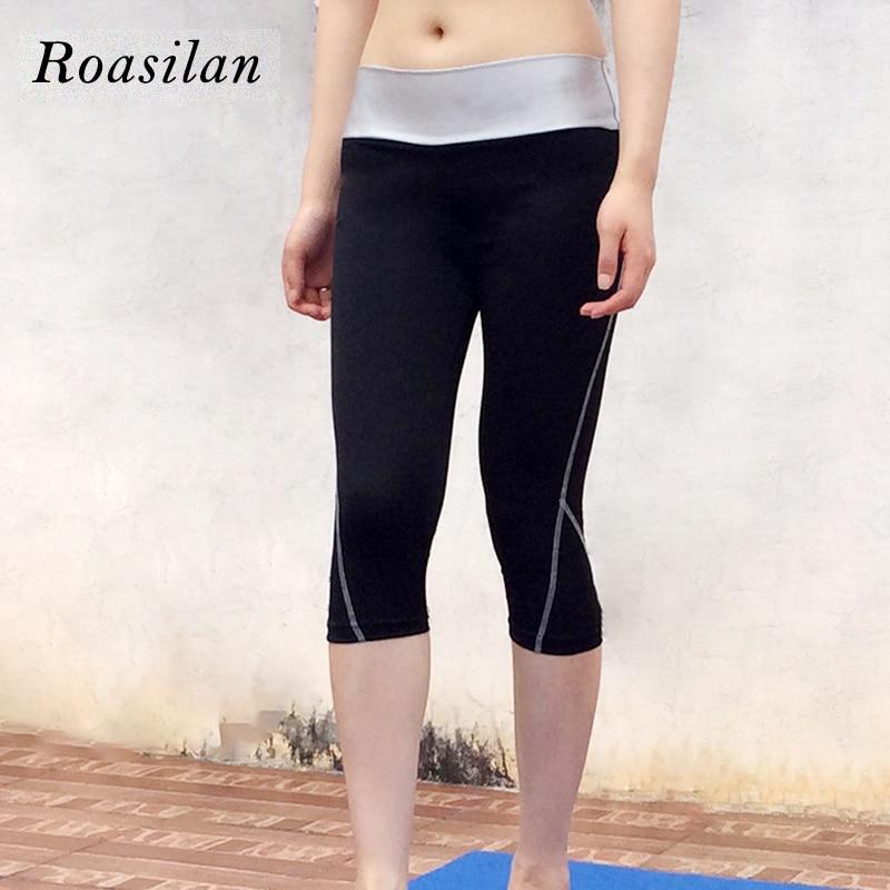 Roasilan Yoga bodybuilding seven pressure line color leggings high waist hip tight running pants quick dry hip sweat pants