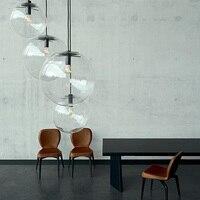 Glass ball lamps transparent ball pendant lights creative restaurant bar bedroom clothing store simple single pendant lamp ZA