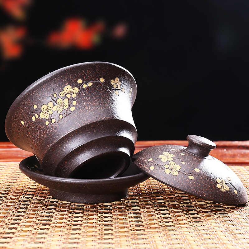 130/145 мл фиолетовая глина yixing Gaiwan с рисунком цветка сливы натуральные Zisha пиалы для чая с крышкой блюдце набор посуда для напитков украшения ремесла