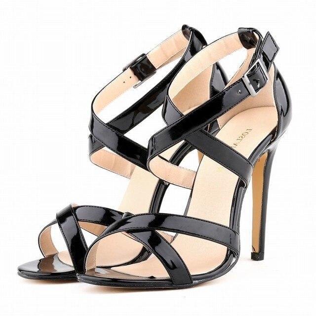 Большой Размеры Новые женские босоножки Лето 2017 г. женские пляжные сандалии Обувь высокий тонкий каблук лакированная кожа фиолетовый красный, белый Обувь SMYBK-103