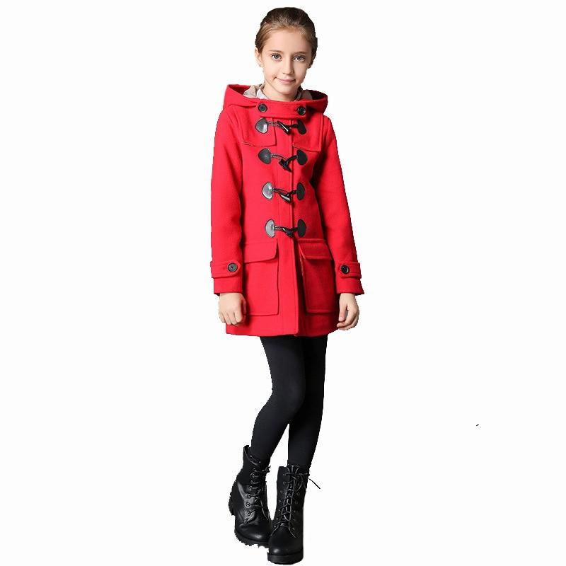 цена на BURBULLY Winter girl's Coat Children Wool Hooded Double Breasted Long Style Classic Retro Overcoat High Quality