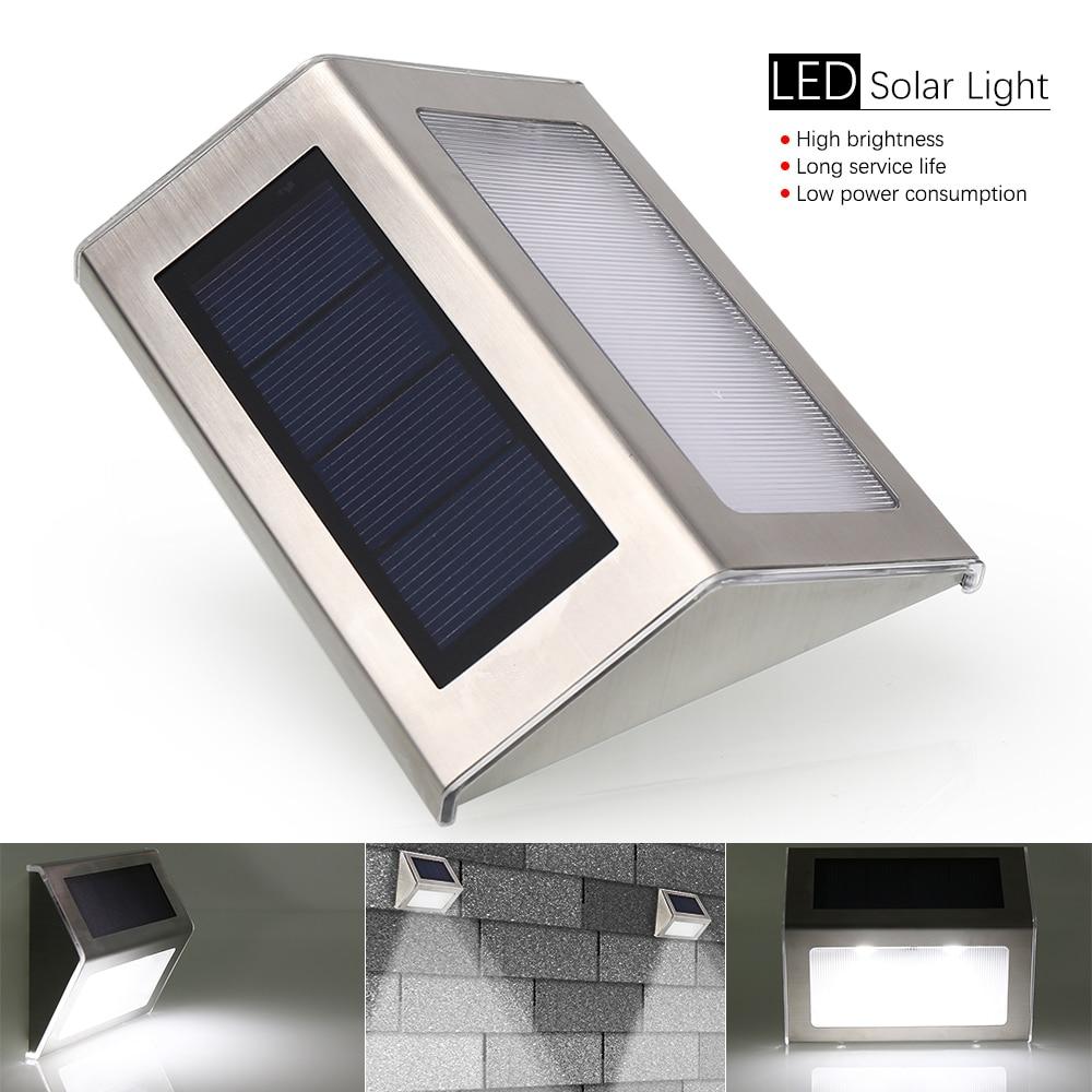 4pcs/lot LED Solar Lamp Waterproof IP65 Light Power Garden Outdoor ABS Wall
