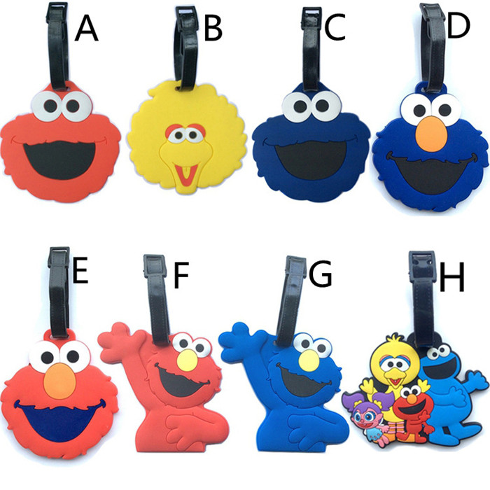 8 pcs/lot Sesame Street figures luggage tag ELMO BIG BIRD COOKIE MONSTER BERT ERNIE ZOE ROSITA PVC bag pendants free shipping