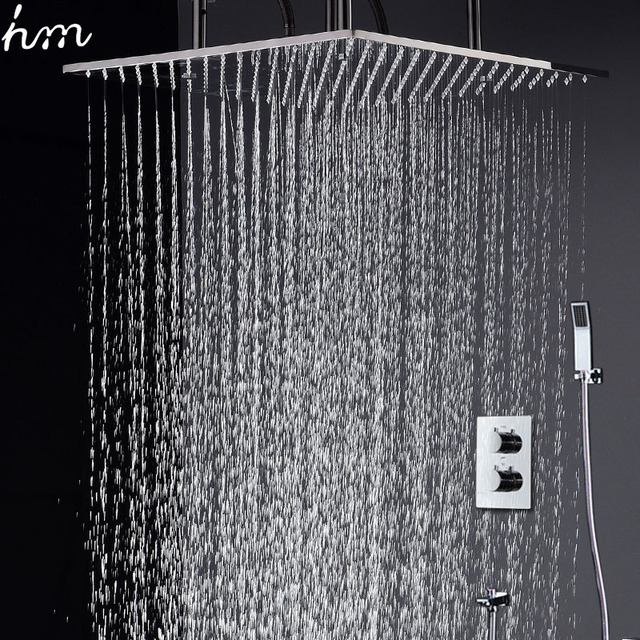 Thermostatic Rainfall Shower Set 20 Inch Square Shower Panel ...