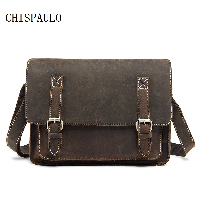 CHISPAULO crazy horse genuine leather men bag vintage laptop bag business men's leather briefcase men messenger bags new T707 crazy horse genuine leather men bags vintage loptop business men s leather briefcase man bags men s messenger bag 2016 new 7205