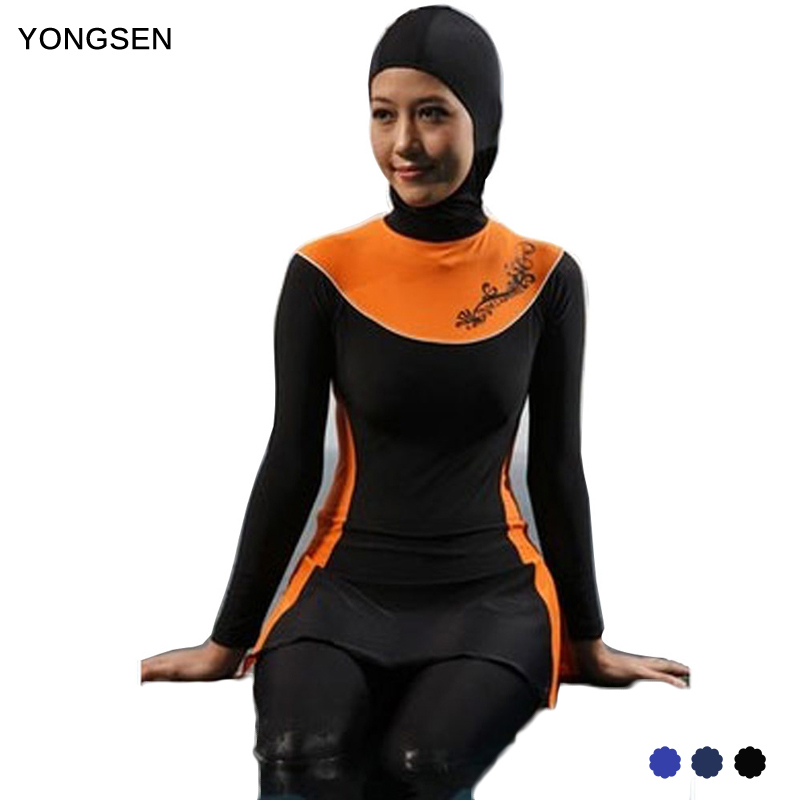 YONGSE Push Up Long Sleeve Plus Size Muslim Swimwear Modest Islamic Swim Wear Baiclothing Women Full Cover Swimsuit Burkinis