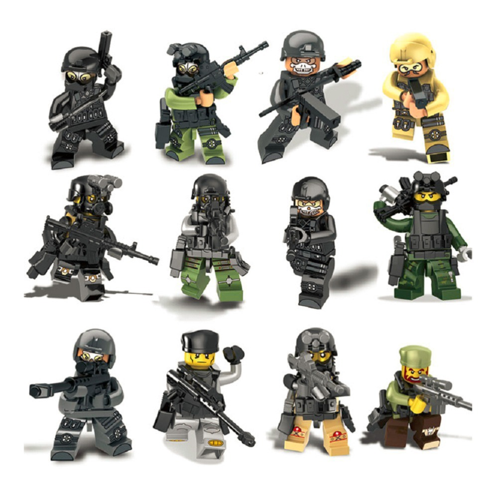 120PCS Military City police Swat team CS Commando Army soldiers with Weapon Gun Building Blocks Military